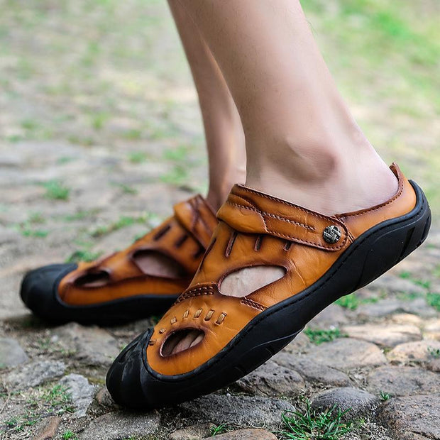 Summer new baotou leather sandals antiskid outdoor leisure fashion men's shoes 122748