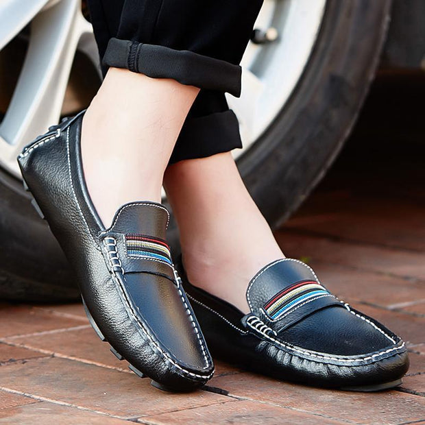 Mens Breathable Loafers Men Shoes Summer Casual Leather Male Comfortable Soft Driving 118847