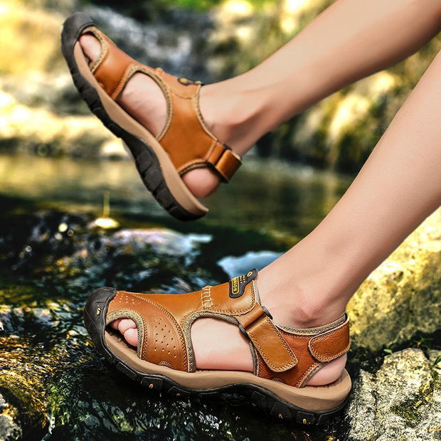 Mens Summer Breathable Leather Casual Outdoor Beach Sandals Men Shoes