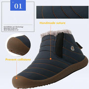 Men And Women Thickening Faux Fur Lining Winter Water-Resistant Ankle Boots Flat Shoes
