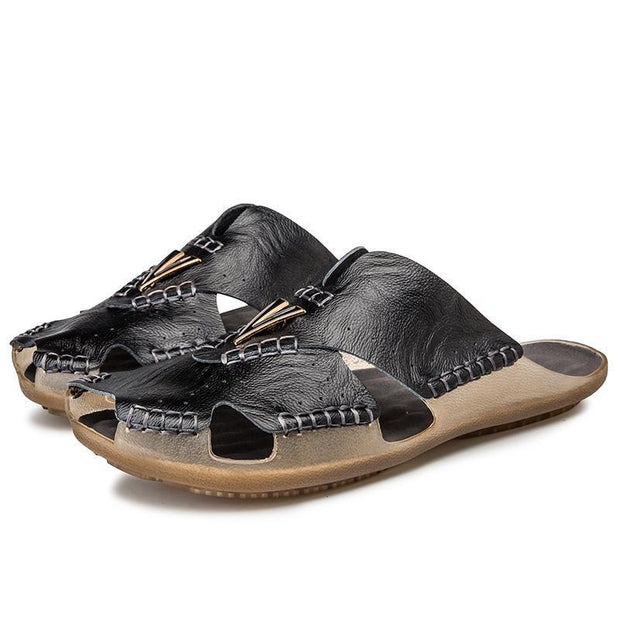 Mens Leather Sandals Casual Slippers Non-Slip Outdoor Slides Fashion Summer Beach Closed Toe Shoes