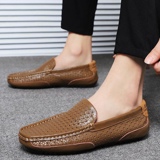 Summer Genuine Leather Mens Shoes Casual Men Loafers Hollow Out Breathable Slip On Driving 129991
