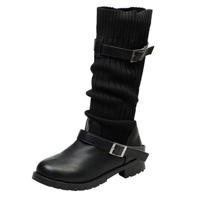 2018 autumn and winter European and American boots large size women's boots woolen boots 117548