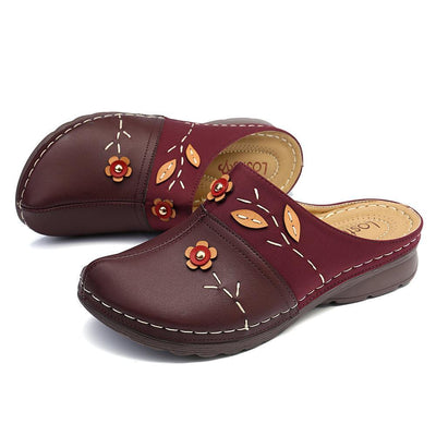 Floral Stitching Comfort Clogs Casual Sandals