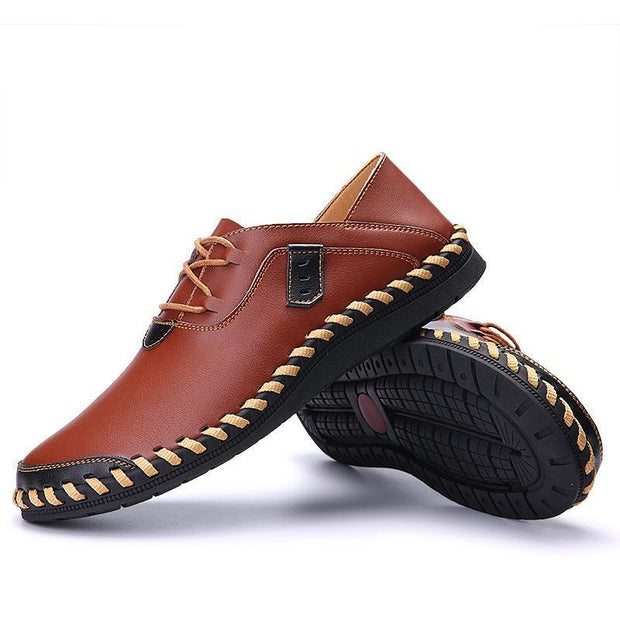 Mens Stitching Soft Sole Breathable Casual Lace Up Driving Loafers 117264 Men Shoes