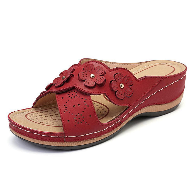 Womens Flower Cross Peep Toe Hollow Out Casual Beach Sandals Slippers 135059 Red / Us 5 Women Shoes