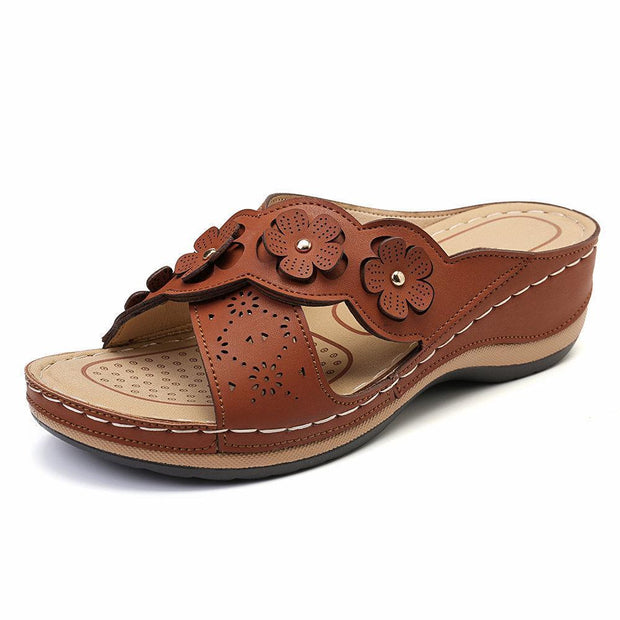 Womens Flower Cross Peep Toe Hollow Out Casual Beach Sandals Slippers 135059 Camel / Us 5 Women