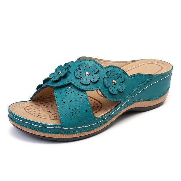 Womens Flower Cross Peep Toe Hollow Out Casual Beach Sandals Slippers 135059 Light Blue / Us 5 Women