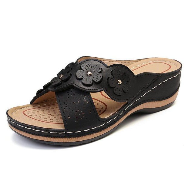 Womens Flower Cross Peep Toe Hollow Out Casual Beach Sandals Slippers 135059 Black / Us 5 Women