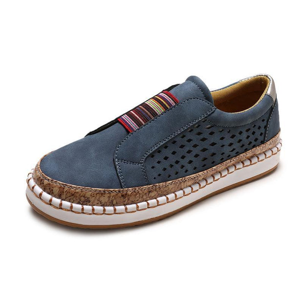 Women Large Size Breathable Hollow Splicing Flat Loafers 135332 Blue / Us 4 Shoes