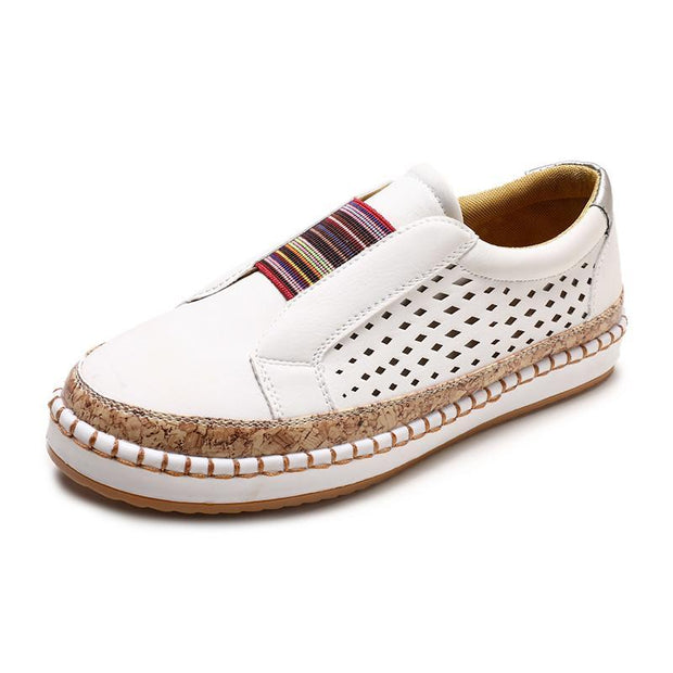 Women Large Size Breathable Hollow Splicing Flat Loafers 135332 White / Us 4 Shoes