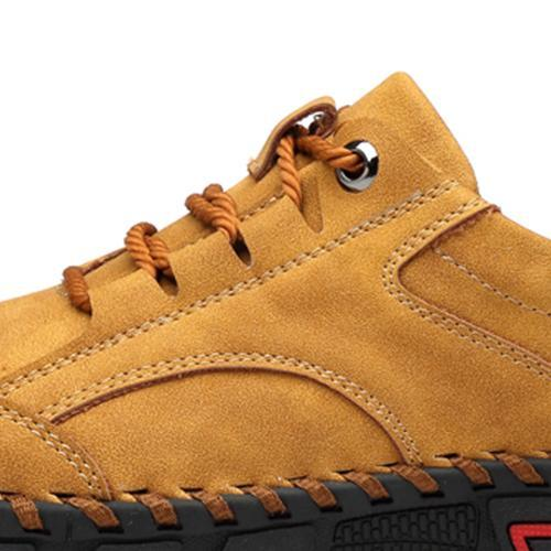 Men Round Head Suture Casual Leather Shoes