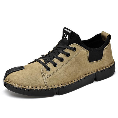 Mens Suede Genuine Leather Hand Stitching Flats Men Shoes