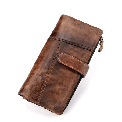135765 Mens Leather Casual 18 Card Slot Wallet Retro High Capacity Clutch Wallets