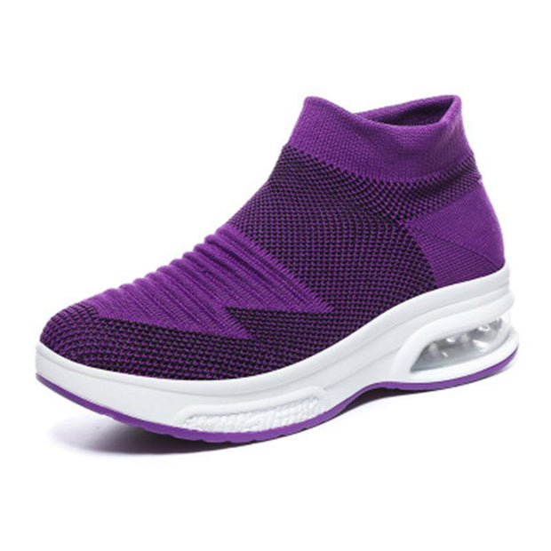 Womens Breathble Mesh Air Cushion Flying Sneakers 136051 Purple / Us 4 Women Shoes