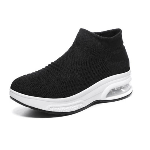 Womens Breathble Mesh Air Cushion Flying Sneakers 136051 Black / Us 4 Women Shoes