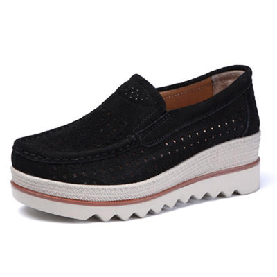 Women's Pure Colors Hollow Fur Surface Breathable Casual Slip-On Shoes