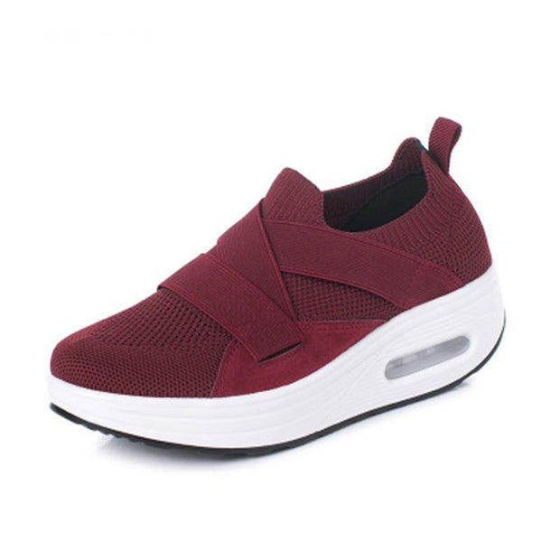 Womens Mesh Breathable Flying Woven Shaker Slip-On Sneakers 136223 Wine Red / Us 4 Women Shoes