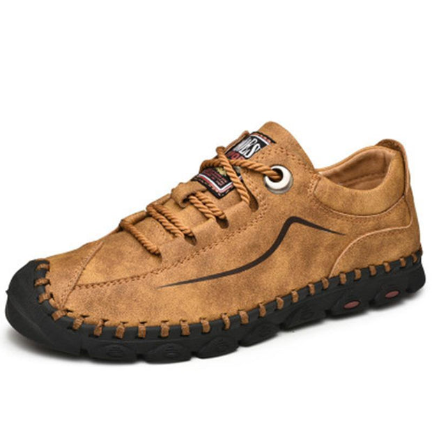 Mens Seasons Leather Wear-Resistant Non-Slip Hiking Shoes 136224 Yellow Gold / Us 6 Men