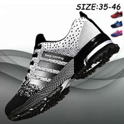 Mens Sports Shoes Mesh Fabric Breathable Running Sneakers 136303 Black & White / Us 14 Men