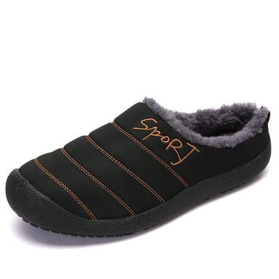 Memens House Slippers Indoor Outdoor Winter Slip On Fur Lined Non-Slip Waterproof Men Shoes