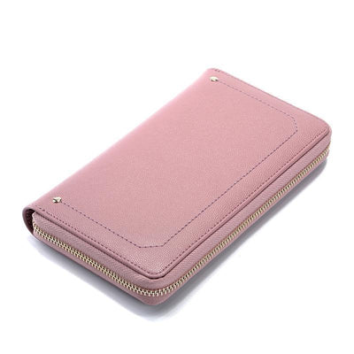 Womens Minimalist Solid Color Coins Cards Holder Zipper Wallet Wallets