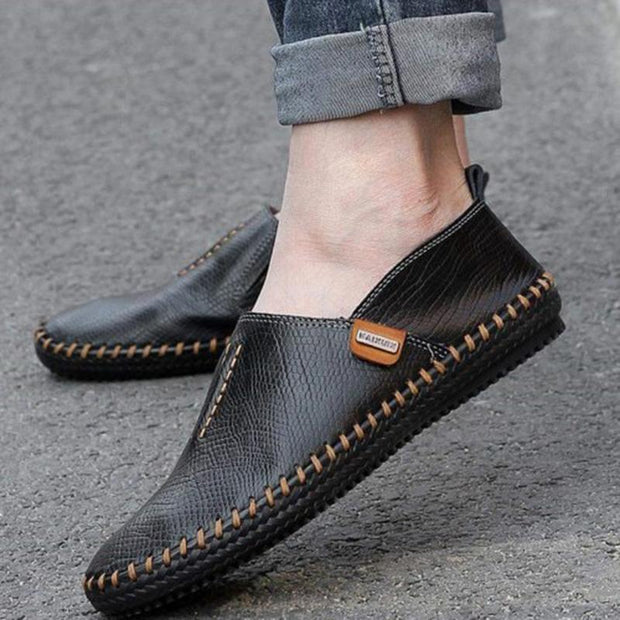 Mens Genuine Leather Soft Breathable Hand-Stitching Driving Slip-On Flats Men Shoes