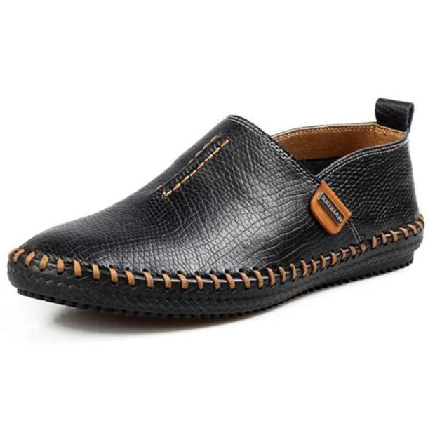 Mens Genuine Leather Soft Breathable Hand-Stitching Driving Slip-On Flats 136504 Black / Us 6 Men