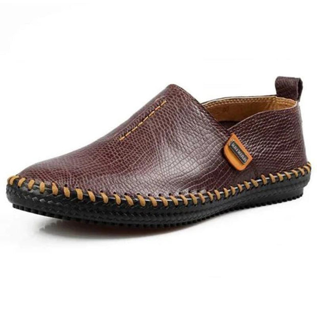 Mens Genuine Leather Soft Breathable Hand-Stitching Driving Slip-On Flats 136504 Brown / Us 6 Men