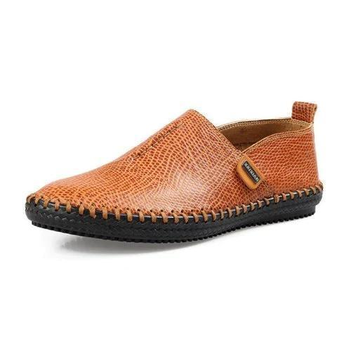 Mens Genuine Leather Soft Breathable Hand-Stitching Driving Slip-On Flats 136504 Light Brown / Us 6