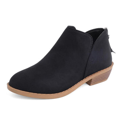 Women Fashion Pure Color Zipper Ankle Boots Shoes