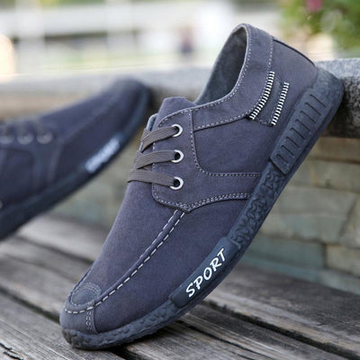 Mens Solid Color Canvas Lace-Up Athletic Casual Flats Men Shoes
