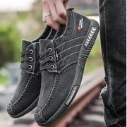 Mens Fashion Stylish Casual Canvas Striped Denim Lace-Up Flats Men Shoes