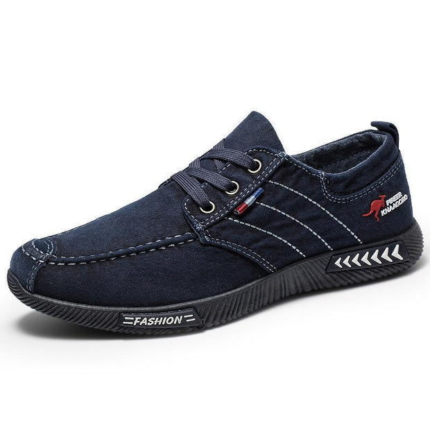 Mens Fashion Stylish Casual Canvas Striped Denim Lace-Up Flats 136869 Blue / Us 6 Men Shoes