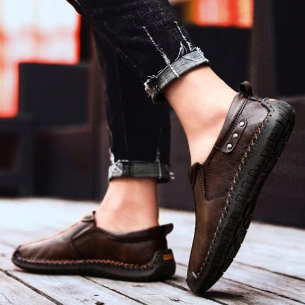 Mens Fashion Stylish Stitching Solid Colors Micro Fiber Leather Slip-On Flats Men Shoes