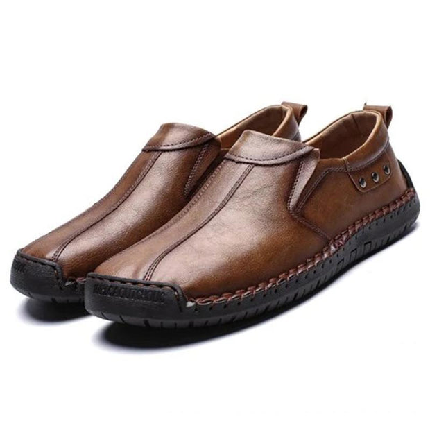 Mens Fashion Stylish Stitching Solid Colors Micro Fiber Leather Slip-On Flats 136878 Brown / Us 6