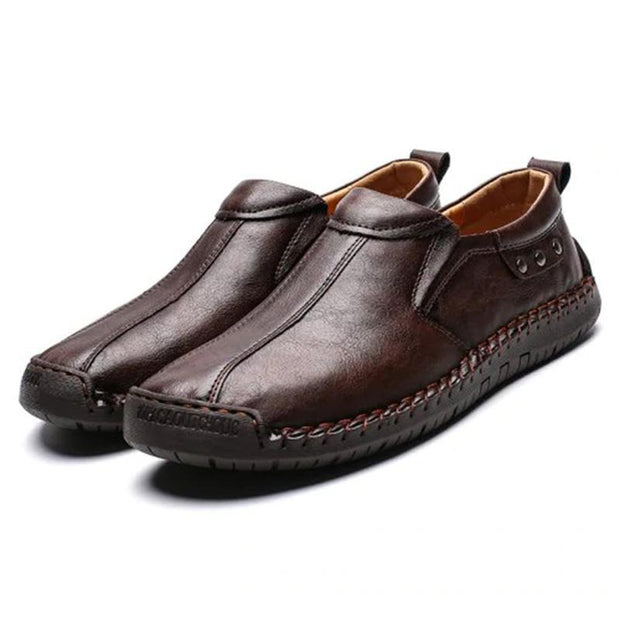 Mens Fashion Stylish Stitching Solid Colors Micro Fiber Leather Slip-On Flats 136878 Deep Brown / Us