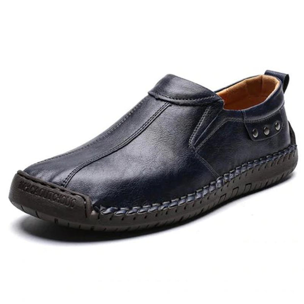 Mens Fashion Stylish Stitching Solid Colors Micro Fiber Leather Slip-On Flats 136878 Deep Blue / Us