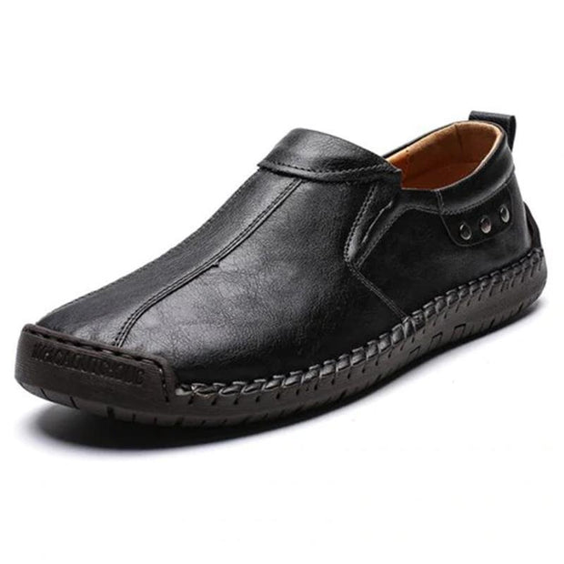 Mens Fashion Stylish Stitching Solid Colors Micro Fiber Leather Slip-On Flats 136878 Black / Us 6