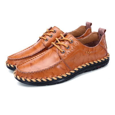 Mens All Seasons British Trend Stylish Handmade Stitching Lace-Up Flats Men Shoes