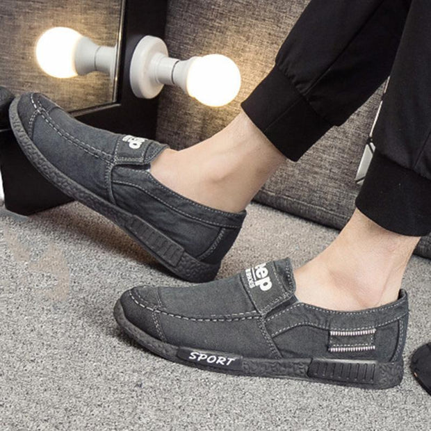 Mens Korean Version Breathable Canvas Casual Slip-On Flats Men Shoes
