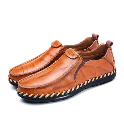 Mens British Trend Genuine Leather Stylish Handmade Stitching Formal Casual Slip-On Flats Men Shoes