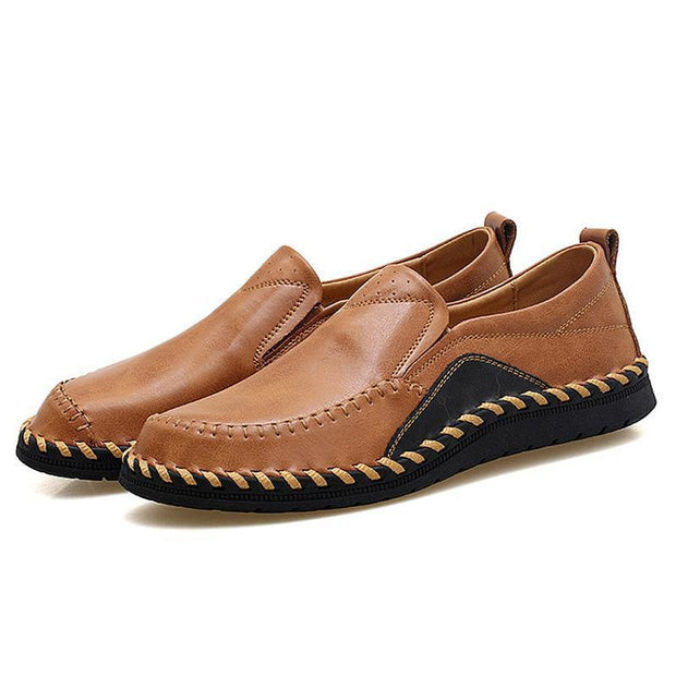 Mens Genuine Leather Plus Size Handmade Stylish Stitching Formal Casual Flats 136975 Brown / Us 6
