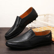 Mens All Seasons Genuine Leather Walking Peas Shoes Soft Lazy Men Shoes
