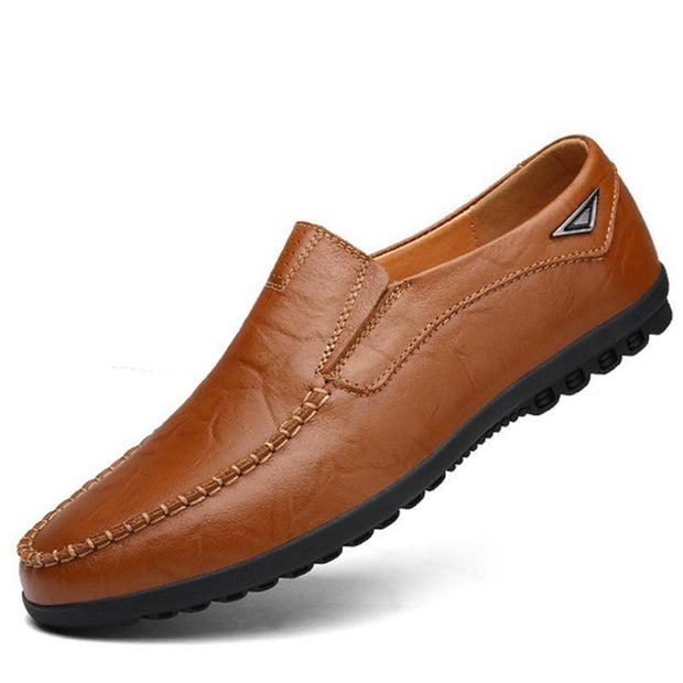 Mens All Seasons Genuine Leather Walking Peas Shoes Soft Lazy 137000 Brown / Us 6 Men Shoes