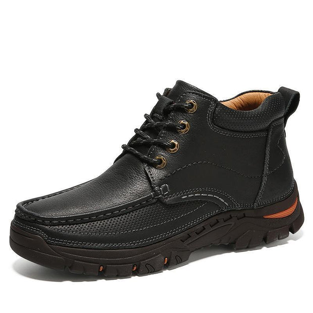 Mens New Toe Layer Leather Non-Slip Wear-Resistant Youth Hiking Shoes 137398 Black / Us 6 Men