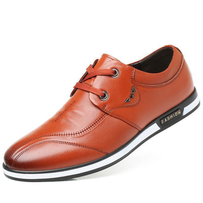 Mens New Leather Soft Face Layer Cow Bottom Lace-Up Shoes Men