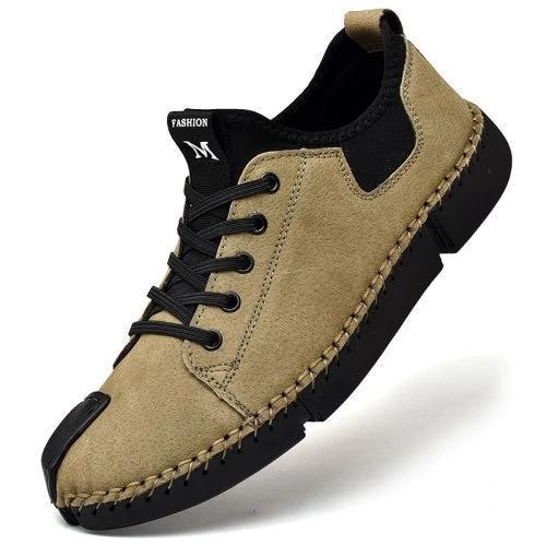 Mens Large Size Sewing Bottom Handmade Casual Shoes 137419 Khaki / Us 6 Men