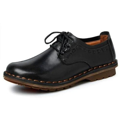 Mens Leather Hand Stitching Working Casual Shoes Comfortable Breathable Men