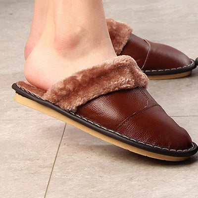 Mens Winter Waterproof Leather Home Indoor Couple Month Hair Fur Cotton Padded Bottom Slippers Men